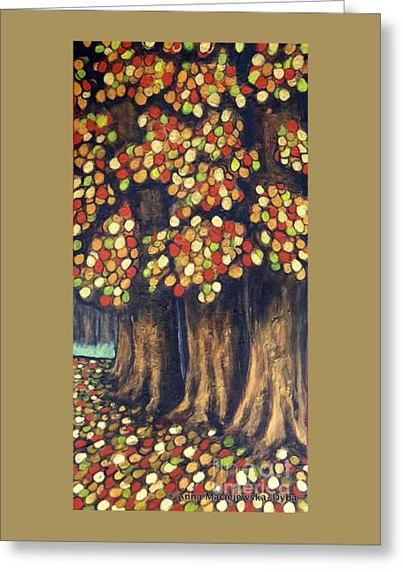 Polscy Malarze Paintings Greeting Cards - Linden Trees in the Fall Greeting Card by Anna Folkartanna Maciejewska-Dyba