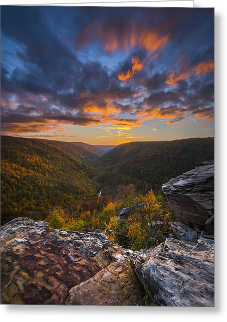 West Virginia Greeting Cards - Lindy Point Sunset Greeting Card by Joseph Rossbach