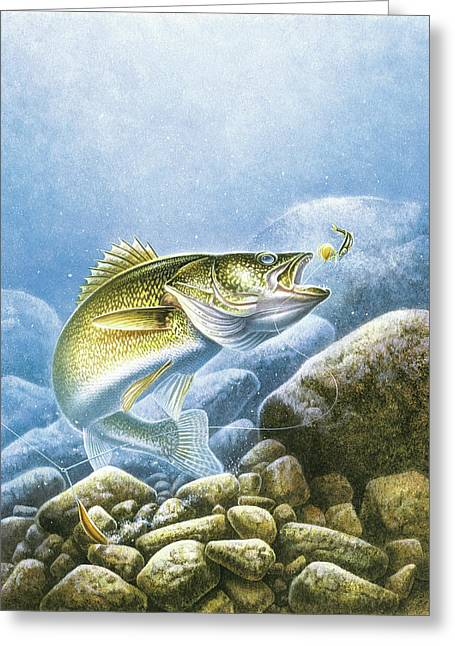 Bottom Greeting Cards - Lindy Walleye Greeting Card by JQ Licensing