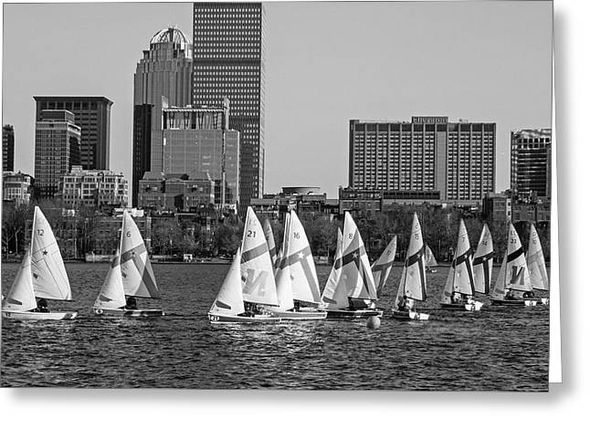Line Of Boats On The Charles River Boston Ma Black And White Greeting Card by Toby McGuire