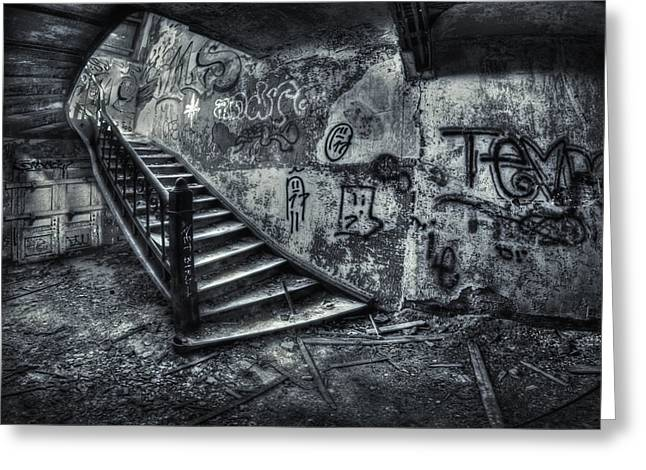 Graffiti Steps Greeting Cards - Line Of Descent Greeting Card by Evelina Kremsdorf