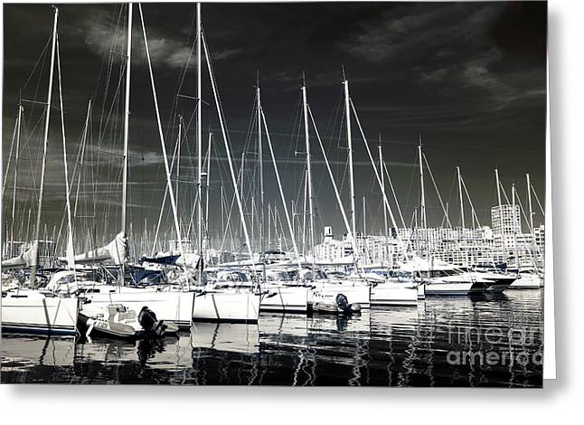 Lined Up In Marseille Greeting Card by John Rizzuto