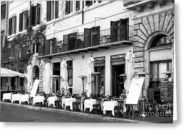 Italian Restaurant Greeting Cards - Lined Up in Roma Greeting Card by John Rizzuto