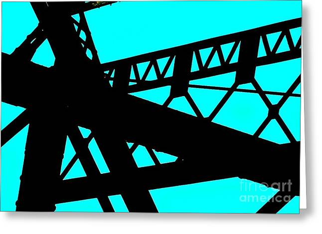 Crossed Lines Greeting Cards - Lines Abstract Turquoise and Black Greeting Card by Marsha Heiken