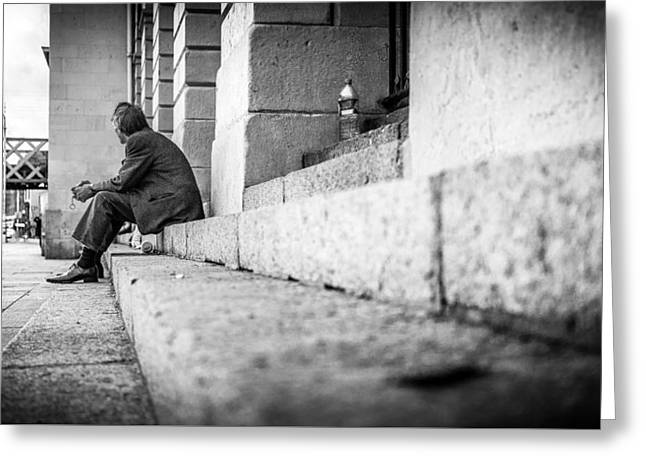 Lines - Dublin, Ireland - Black And White Street Photography Greeting Card by Giuseppe Milo