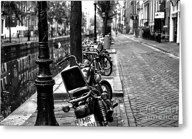 Lines In Amsterdam Mono Greeting Card by John Rizzuto