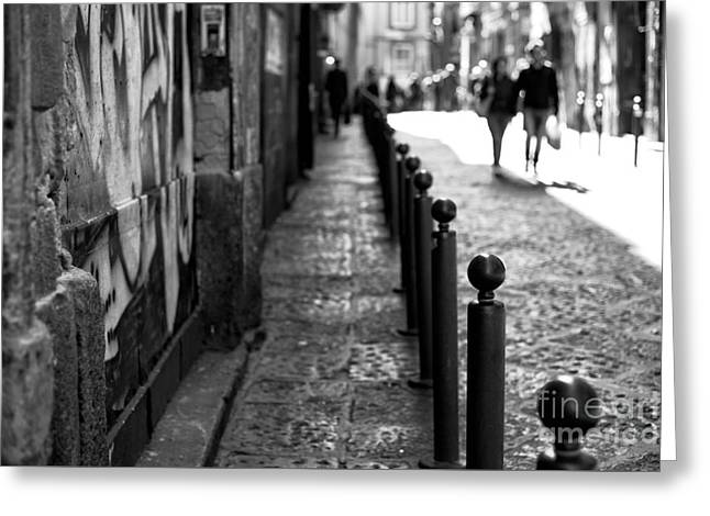 Old Street Greeting Cards - Lines in Naples Greeting Card by John Rizzuto
