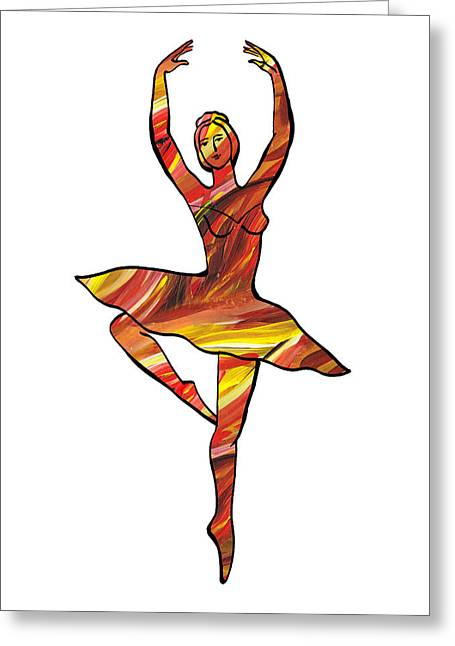 Lessons Greeting Cards - Lines Of Flames Ballerina Silhouette Greeting Card by Irina Sztukowski