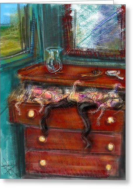 Hand Mirror Greeting Cards - Lingerie Drawer Greeting Card by Russell Pierce
