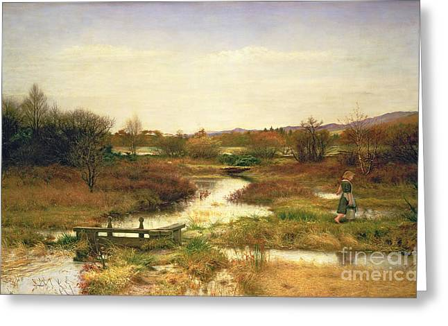 Wet Greeting Cards - Lingering Autumn Greeting Card by Sir John Everett Millais