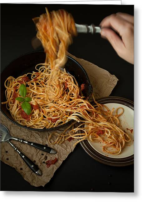 Linguine With Basil And Red Sauce In Cast Iron Pan Being Served Greeting Card by Erin Cadigan