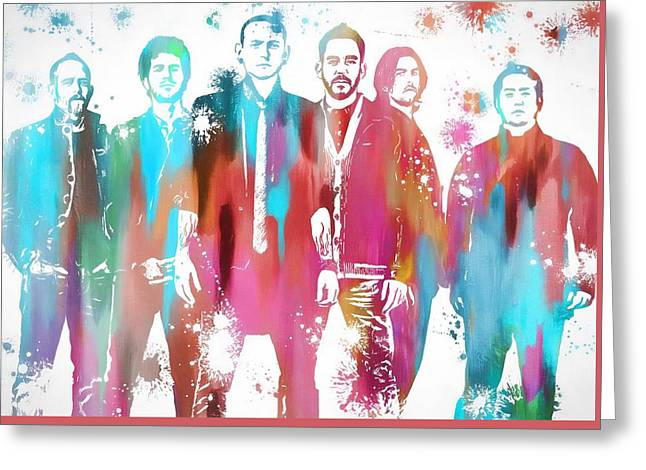 Linkin Park Watercolor Paint Splatter Greeting Card by Dan Sproul