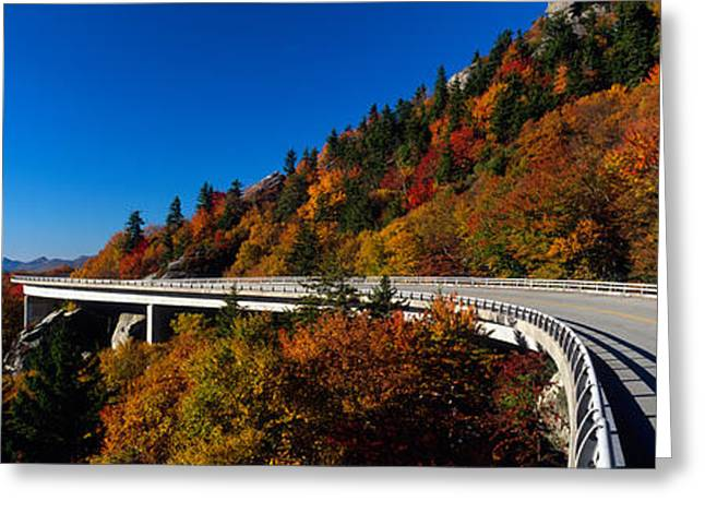 Double Yellow Lines Greeting Cards - Linn Cove Viaduct Blue Ridge Parkway Nc Greeting Card by Panoramic Images