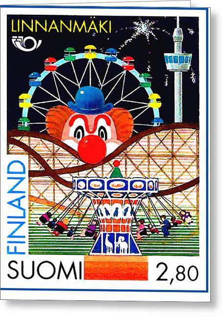 Pyrotechnics Greeting Cards - Linnanmaki amusement park Greeting Card by Lanjee Chee