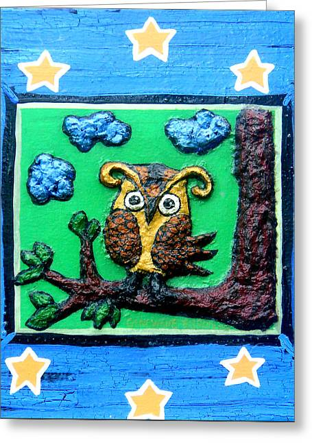 Lint Owl Greeting Card by Genevieve Esson