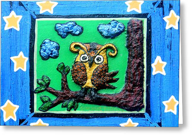 Lint Greeting Cards - Lint Owl Greeting Card by Genevieve Esson
