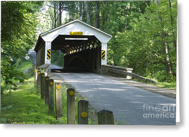 Roadway Greeting Cards - Linton Stephens Covered Bridge Greeting Card by Lori Amway