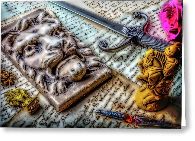 Lion And Dagger Greeting Card by Garry Gay
