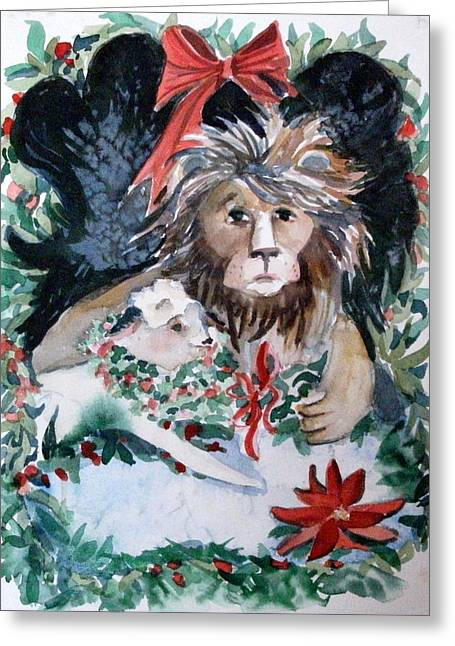 Lion And Lamb Greeting Card by Mindy Newman