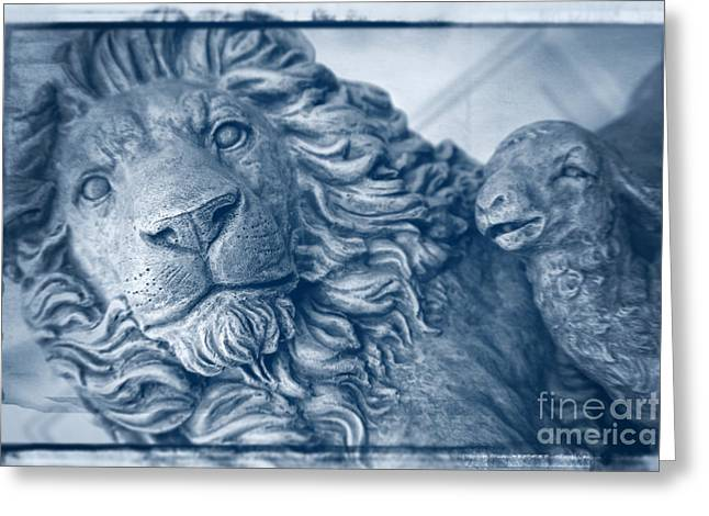 Lion And Lamb Greeting Cards - Lion and the Lamb - Monochrome Blue Greeting Card by Ella Kaye Dickey