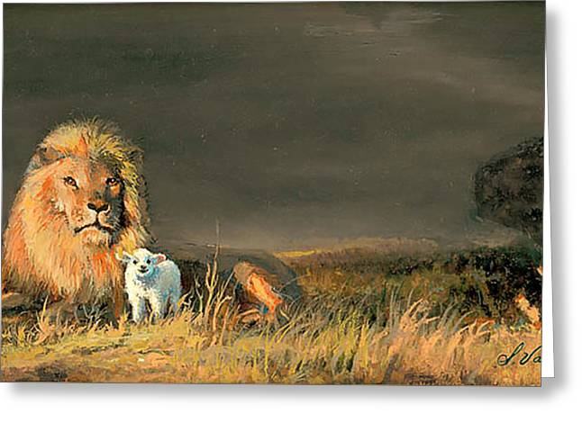 Lion And The Lamb Greeting Card by Sidney Vaughn