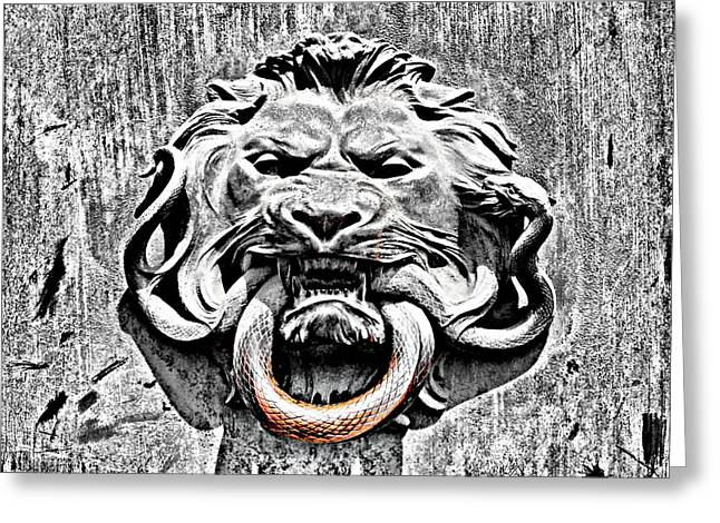 Verdigris Greeting Cards - Lion and The Snake Greeting Card by Greg Sharpe