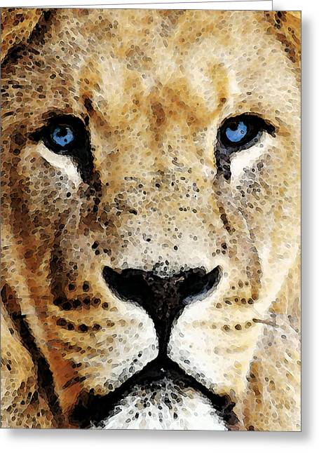 College Room Greeting Cards - Lion Art - Blue Eyed King Greeting Card by Sharon Cummings