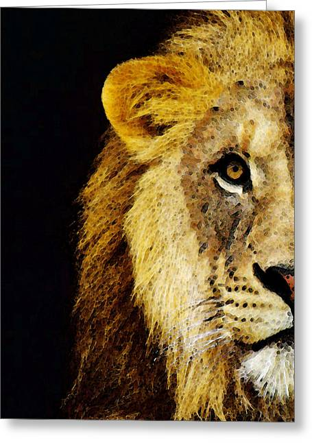 College Room Greeting Cards - Lion Art - Face Off Greeting Card by Sharon Cummings