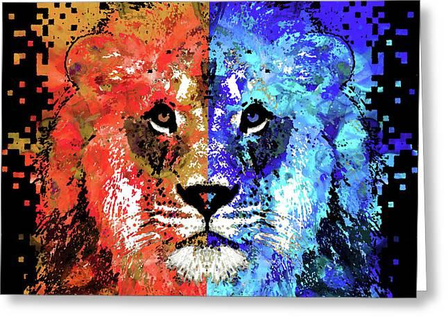 Lion Art - Majesty - Sharon Cummings Greeting Card by Sharon Cummings