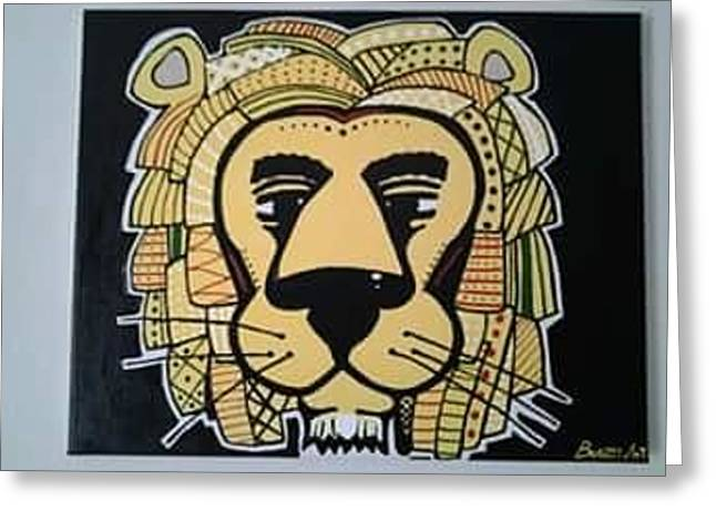 Lions Greeting Cards - Lion Arted Greeting Card by Antonio  parker
