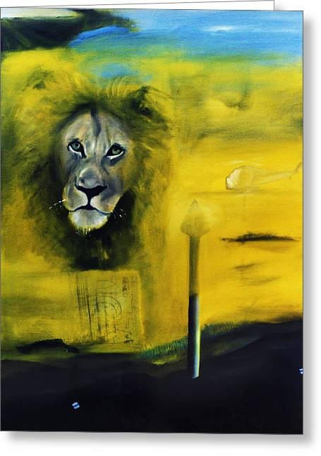Lion At The Council Greeting Card by Noga Ami-rav