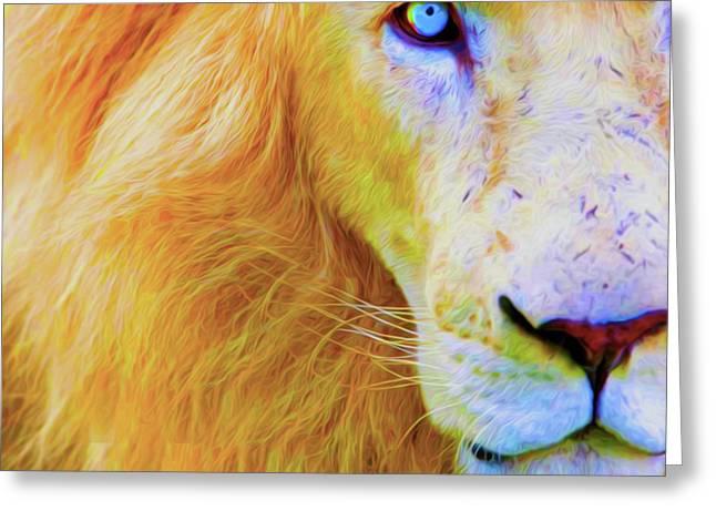 Lion Blue By Nicholas Nixo Efthimiou Greeting Card by Nicholas Nixo