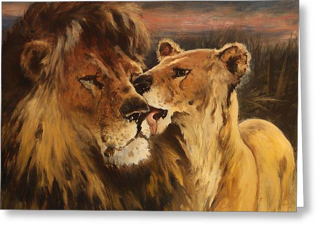 Licking Greeting Cards - Lion Couple Greeting Card by Gustave Wertheimer