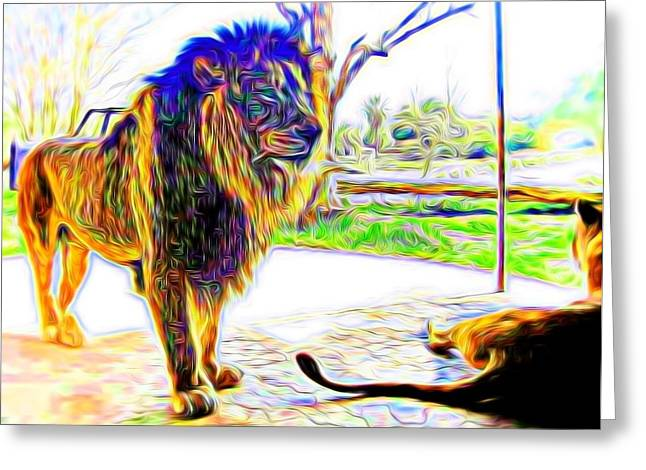 Lioness Greeting Cards - Lion Couple In Abstract Greeting Card by Kristalin Davis