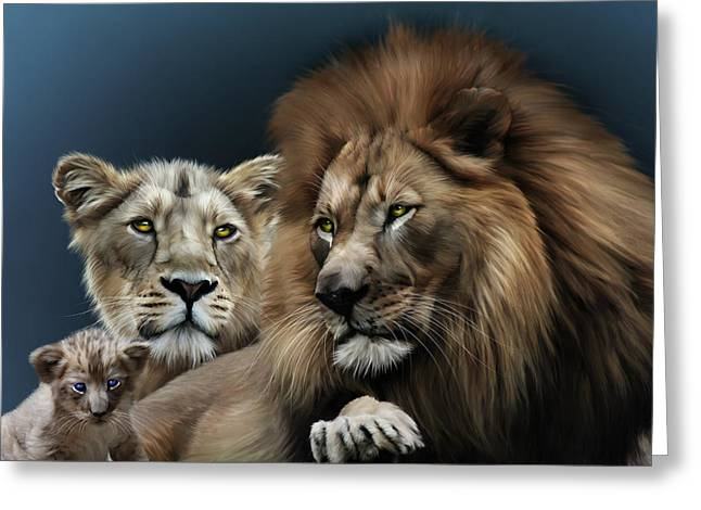 Recently Sold -  - Lioness Greeting Cards - Lion Family Greeting Card by Julie L Hoddinott