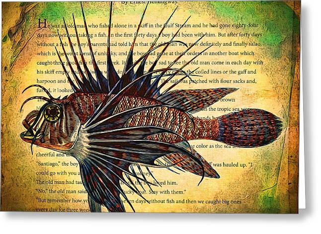 Old Man And The Sea Greeting Cards - Lion Fish Greeting Card by John K Woodruff