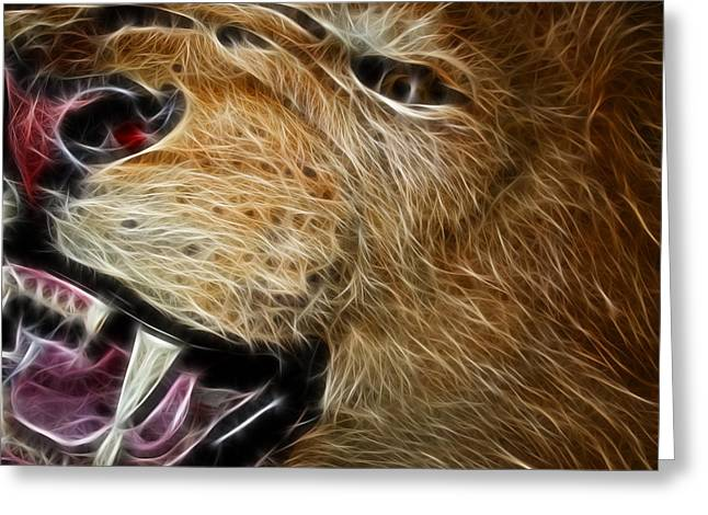 Close-up Of Cat Greeting Cards - Lion Fractal Greeting Card by Shane Bechler