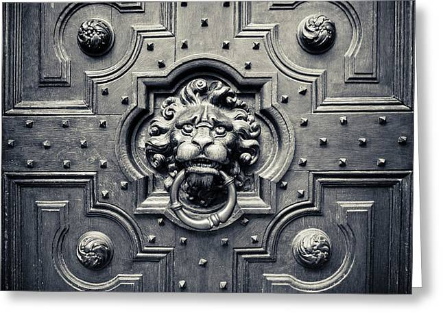 Medieval Entrance Photographs Greeting Cards - Lion Head Door Knocker Greeting Card by Adam Romanowicz