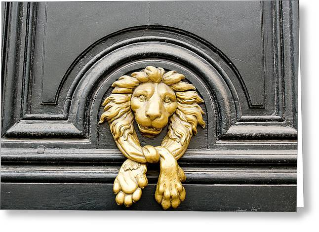 Lion Head Door Knocker Greeting Card by Ivy Ho