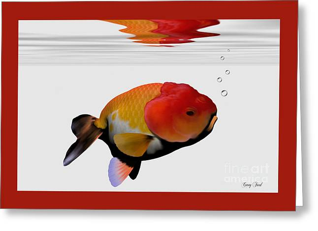 Lion-head Goldfish Greeting Card by Corey Ford