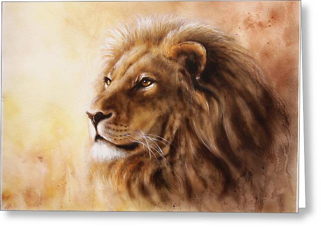 Royal Art Greeting Cards - Lion Head With A Majesticaly Peaceful Expression Profile Portrai Greeting Card by Jozef Klopacka