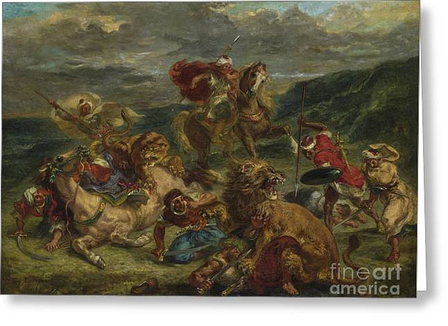 Lion Hunt Greeting Card by Ferdinand Victor Eugene Delacroix
