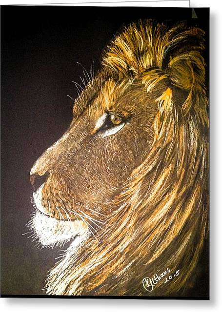 Lions Greeting Cards - Lion in color Greeting Card by Heike Althaus
