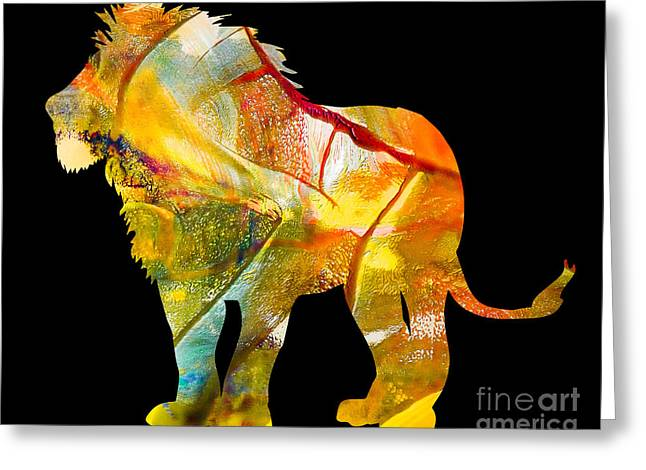 Printmaking Greeting Cards - Lion Greeting Card by Laura L Leatherwood