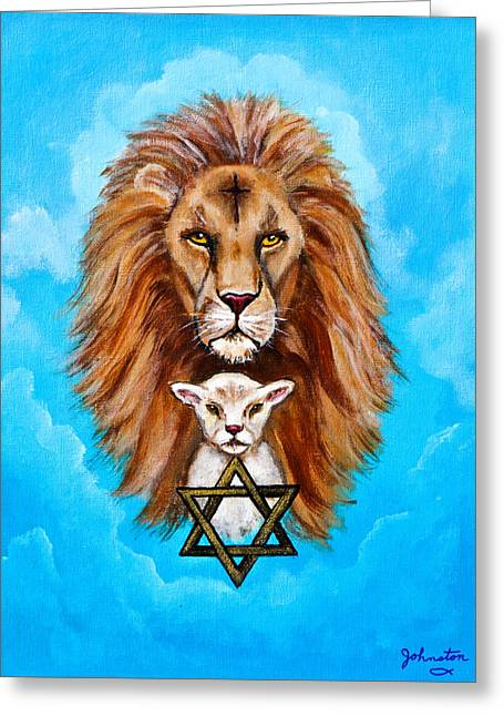 Lion Lies Down With A Lamb Greeting Card by Bob and Nadine Johnston