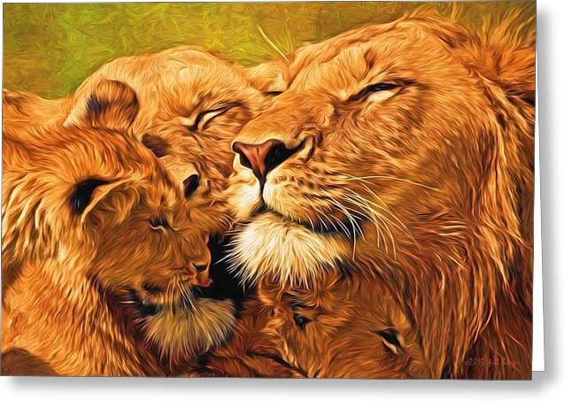 Lioness Greeting Cards - Lion Love #2 Greeting Card by Will Barger
