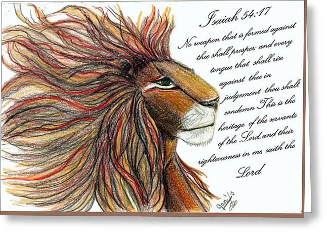 Isaiah Drawings Greeting Cards - Lion of Judah Greeting Card by Jan Nosakowski
