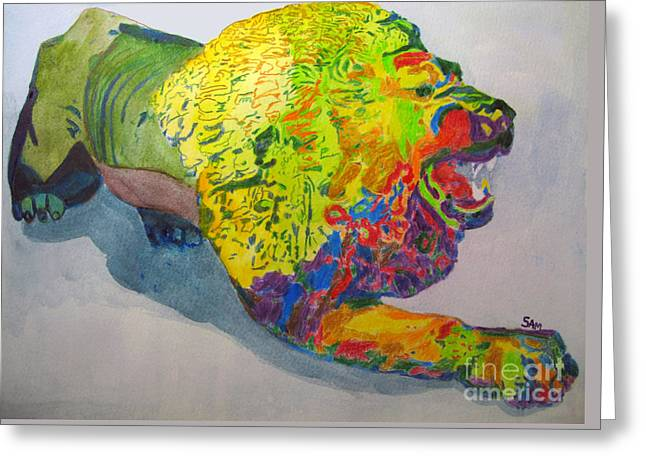 Growling Paintings Greeting Cards - Lion of Judah Greeting Card by Sandy McIntire