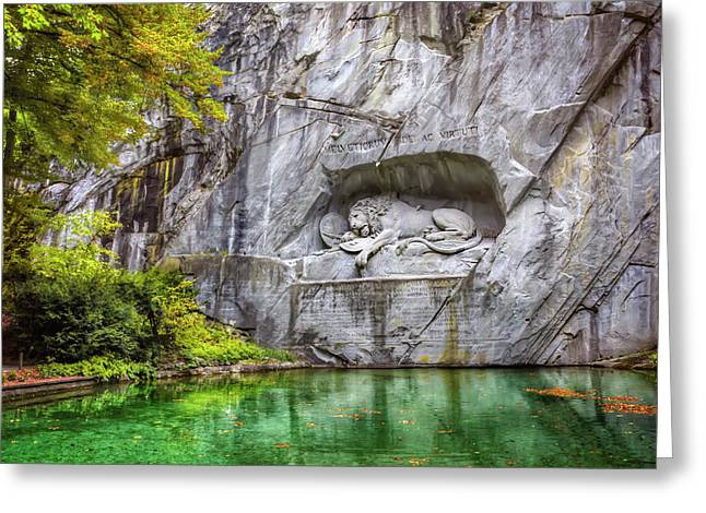 Stone Carving Greeting Cards - Lion of Lucerne Greeting Card by Carol Japp