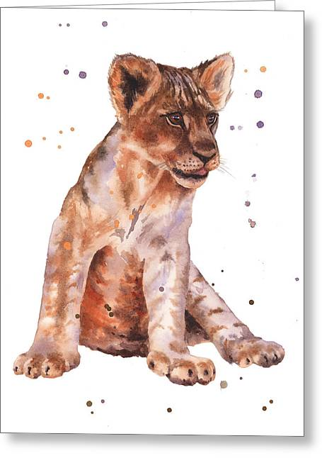 Wildlife Watercolor Greeting Cards - Lion Painting Greeting Card by Alison Fennell